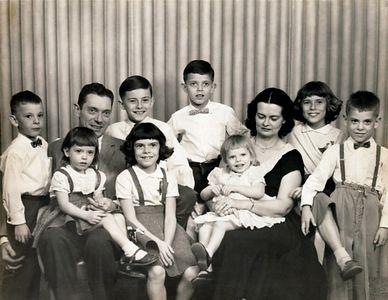 Family Portrait.  Bob, Christine, Dad (Archie),Teri, Jerry, Steve, Mary Sue, Mom (Dorothy), Cathy, Art.