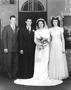 Dorothy & Archies' Wedding Picture, October 26, 1946..... Best Man - Hal Chenevey -- Maid of Honor - Pat (Ray) Miller