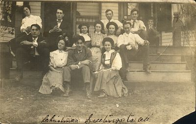 1912 Marthey Christmas greeting, Josephine Chenevey (top step on the left in white blouse), Arthur Chenevey directly below her.
