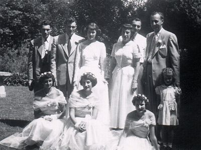 This was taken at my aunt & uncles' (Sally & Hal) wedding in 1951. My father Archie is on the top far left, aunt Eileen is the top 3rd from the right. Aunt Sally's brother Jerry was also in it, along with a few of Hal's and Sallys' friends