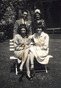 Easter 1946. Aunt Theresa and Aunt Gert (sitting), Dad and Mom Standing.