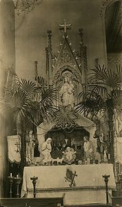 The alter from the second St Genevieve Catholic Church in Calmoutier, Ohio. The church burnt down in 1948.