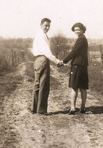Mom and dad taking a stroll at dads parents farm.