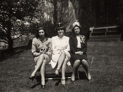 Easter 1946 Aunt Theresa, Aunt Gert and Mom (Dorothy)
