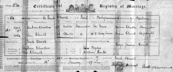 This is a scan of a 1887 copy of an April 18th, 1854 Marriage Certificate of Ambrose Charleton to Ann Clennel. It also provides ages, addresses, fathers name and fathers accupations.