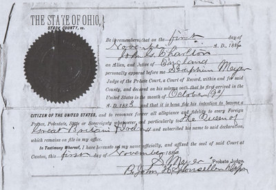 A copy of John Charlton (great Grandfather) Citizenship Document. Citizenship date, November 1886