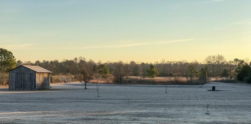 Frosty morning at sunrise