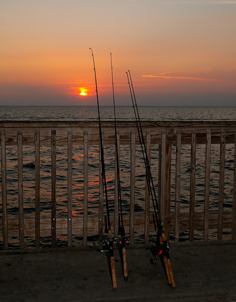fishing rods ready for action at sunset