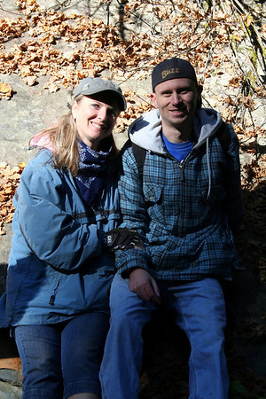 There was this really cool rock at Fern Falls that had a lot of fall leaves on it. I wanted to get a picture of Patrick & I on the rock.