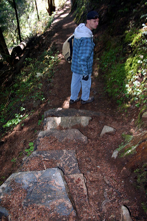 Going down the stone steps.