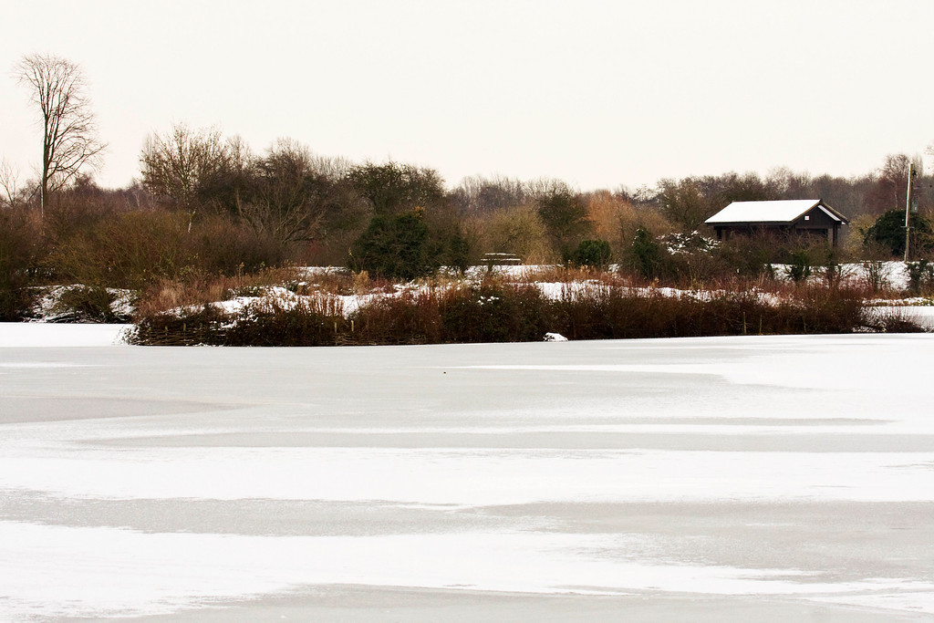 frozen boating lake