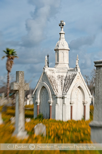Mausoleum in Galveston, Tx cemetery, shot with the Lensbaby Composer lens.