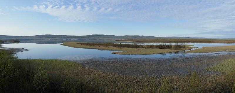 Pasvik river separating Russia and Norway.