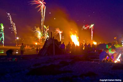 Fireworks celebration, Plymouth Beach, MA, USA