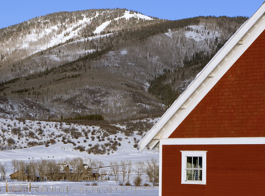 150 year old school, 2 year old ranch-ion, 41 year old ski resort.  I didn't see the elk grazing until later.