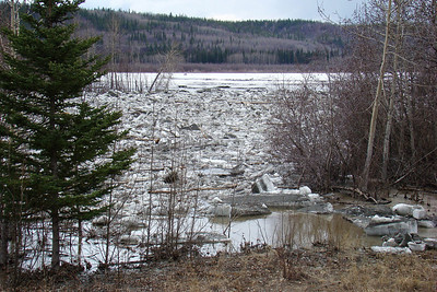 5/6/2008 - The view of the lower ice jam, just below the highway bridge, as seen looking downstream from the west side of the bridge.