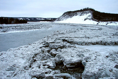 2/5/07 - Again looking upstream, blocks of ice deposited by the floodwaters rest on the gravel floodplain.