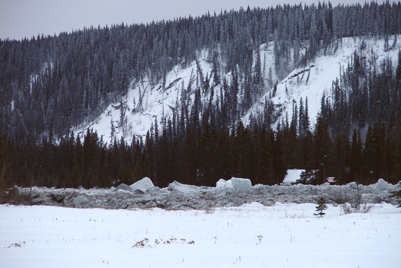 2/5/07 - Farther downstream, nearing the junction with the Copper River, the roof of a house nestled in the trees on the far side of the Tazlina can be seen above the ice ridge.  One wonders what thoughts were going through the minds of the residents when the river was running amok.