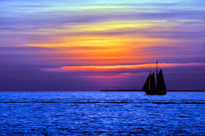 Tropical Key West Sunset and Sailing Ship