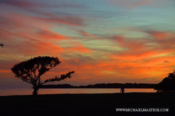 Sunset over the Bay of Florida, Flamingo, Florida. Everglades National Park.