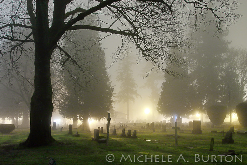Night time in the Historic Tumwater, Washington cemetery