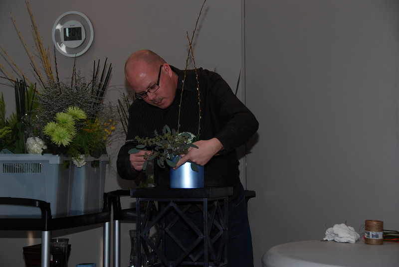 Paul Simpson, Simply Flowers, give a demonstration on the latest floral styles.