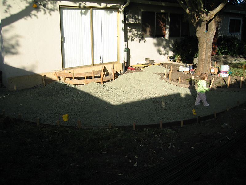 Day 4, May 6, 2004 - Step forms up and gravel added to patio area.