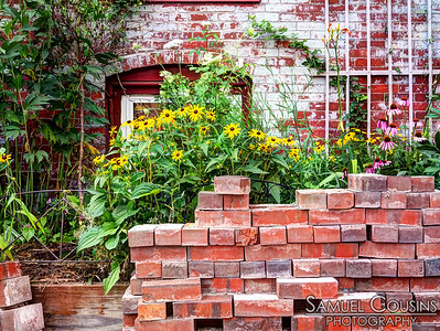 Bricks from nearby construction in front of someone's garden. Black-eyed Susans and other flowers grow in the back.