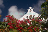 Saba - Bougainvillea frame a typical roof peak and facade, against a beautiful blue sky.  © Rick Collier