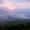 A foggy sunrise, Blue Ridge Parkway.