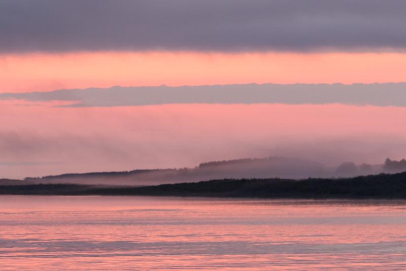 Fog down the Moose River before sunrise.