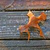 An oak leaf encased in ice on a wooden deck.