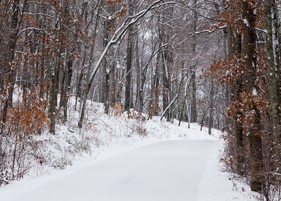 A snowy lane in a private community in western North Carolina.