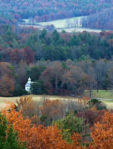 The old Methodist church in Cades Cove as viewed from Rich Mountain Road, Great Smoky Mountains.