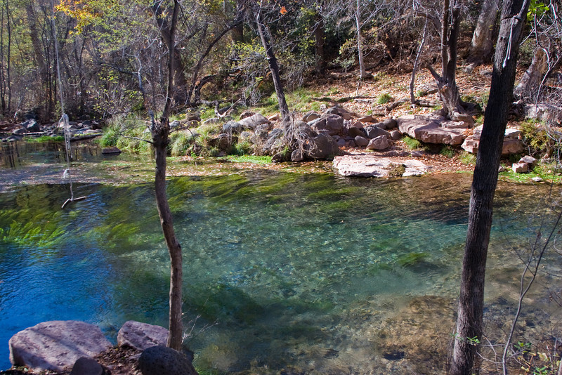 The stream emptied out into a large, clear pool. The hanging rope on the left indicates that this place is popular for swimming. The spring water stays warm throughout the year.