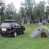 Dag 1, kl 06:30. Det ble teltovernatting på Halsetløkka Camping utenfor Oppdal torsdag-fredag pga. sen avreise fra byen. Tidlig opp for å rekke over fjellet før middag/mørket.