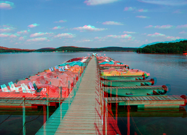 Fountains, Waterfalls, Ponds, Rivers, and Streams in Anaglyph Stereo