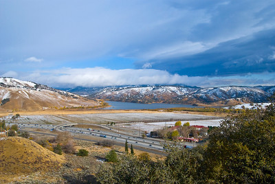 Snow dusted mountains, Lake Tejon, Interstate 5 California