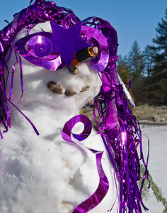 Festive Snow Person decorated by the photographer in Pine Mtn. Club