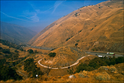 Deadman's curve (The old ridge route) Interstate 5 looking towards Bakersfield
