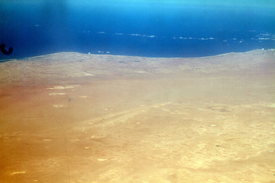 Our first glimpse of Africa! This is the north coast of Egypt, west of Alexandria  We did not fly east enough to go over the pyramids