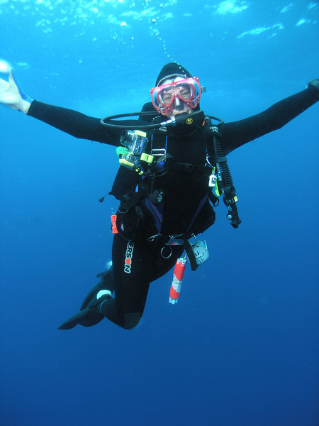 One of our trip organizers, Nikki Pieper from Hollywoodivers shop expressing her feelings about diving in Galapagos. OLYMPUS C-8080
