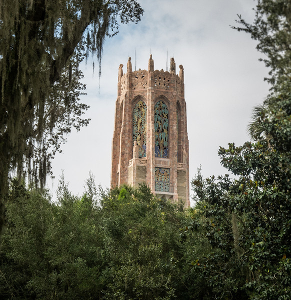Framed view of Bok Tower