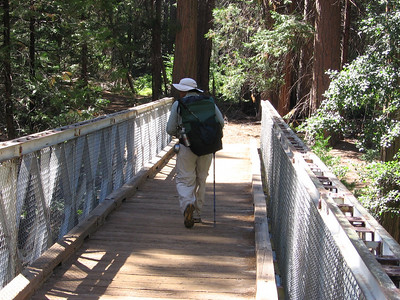 Crossing the bridge that spans the South Fork of the Kings River, heading towards Bubbs Creek.