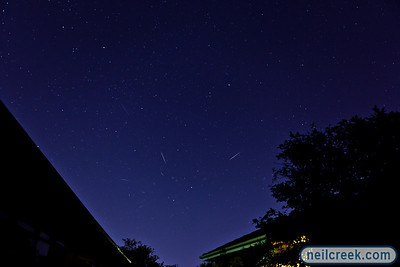 This is a composite of ten photos of Geminid meteors I managed to capture in the early hours of December 15th, 2010. Contrast has been enhanced for better visibility.