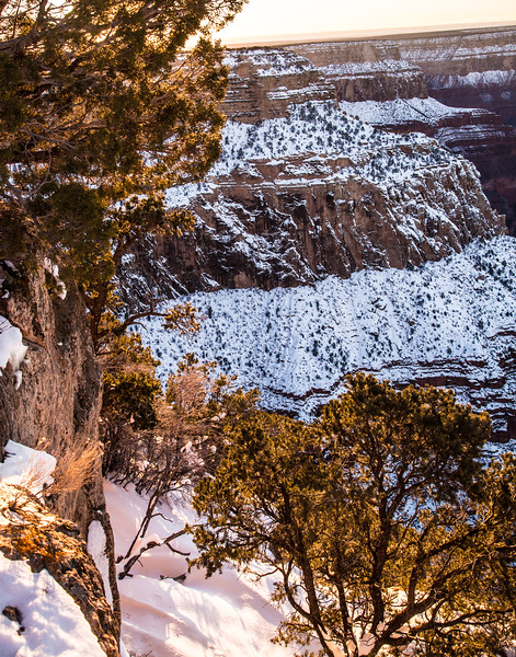 Sunrise on the South Rim of the Grand Canyon after a snowstorm.