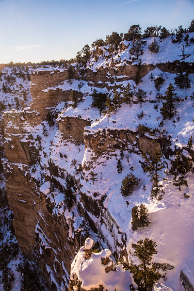 Sunrise on the South Rim of the Grand Canyon after a snowstorm.  The temperature got down to -17 degrees.