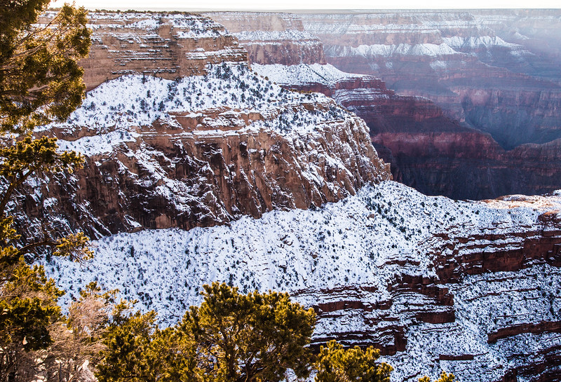 Sunrise at the North Rim of the Grand Canyon after a snowstorm.