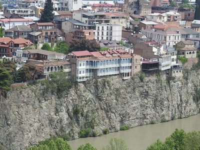 Traditional Georgian architecture high above the Mtkvali River