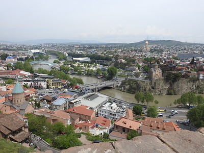 View of Tbilisi and the Mtkvali River from the fortress